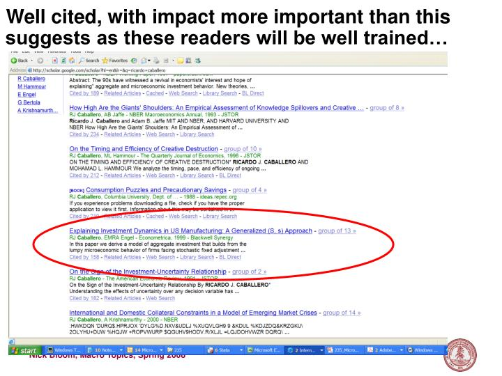 Well cited, with impact more important than this suggests as these readers will be well trained…