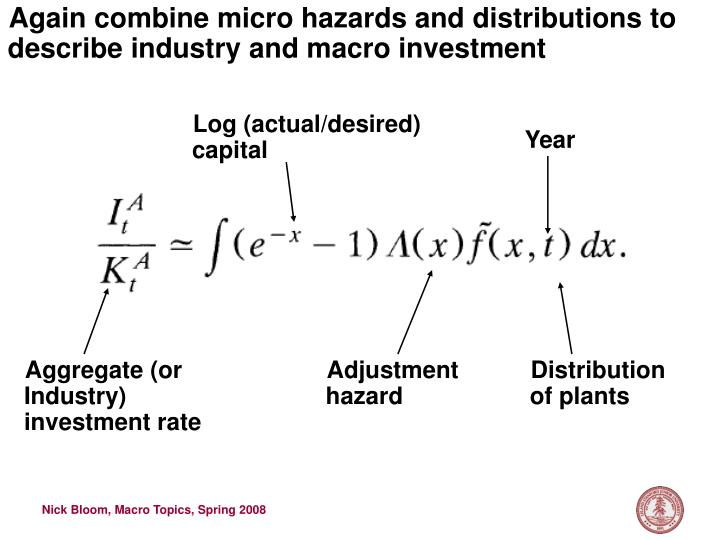 Again combine micro hazards and distributions to describe industry and macro investment