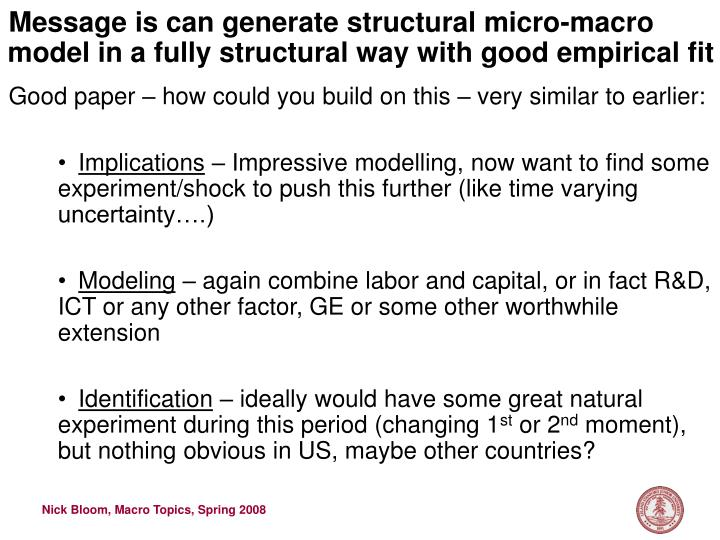 Message is can generate structural micro-macro model in a fully structural way with good empirical fit