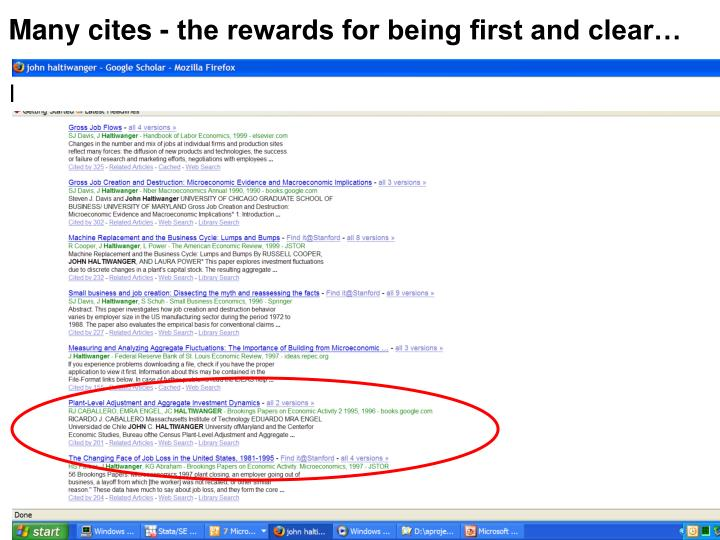 Many cites - the rewards for being first and clear…