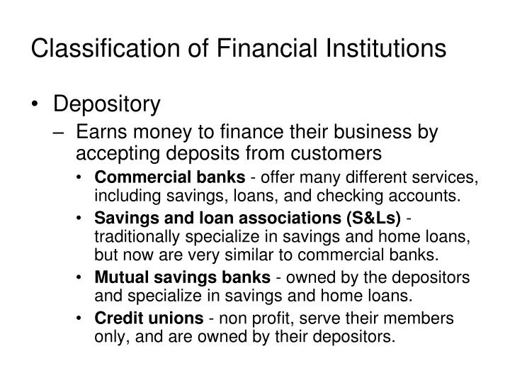 Classification of financial institutions1
