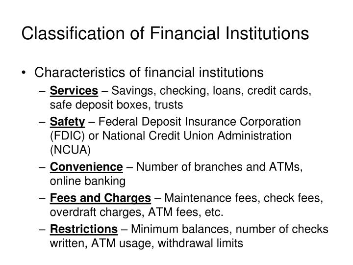 Classification of Financial Institutions
