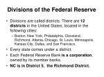 divisions of the federal reserve