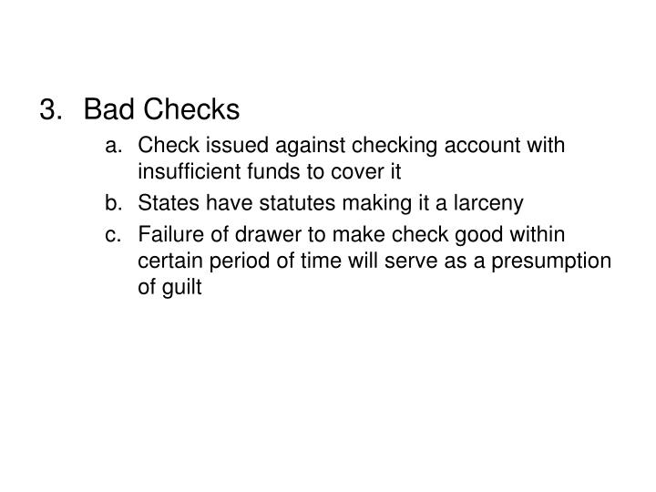 Bad Checks