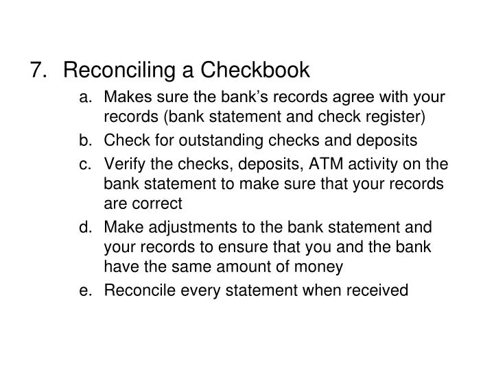 Reconciling a Checkbook