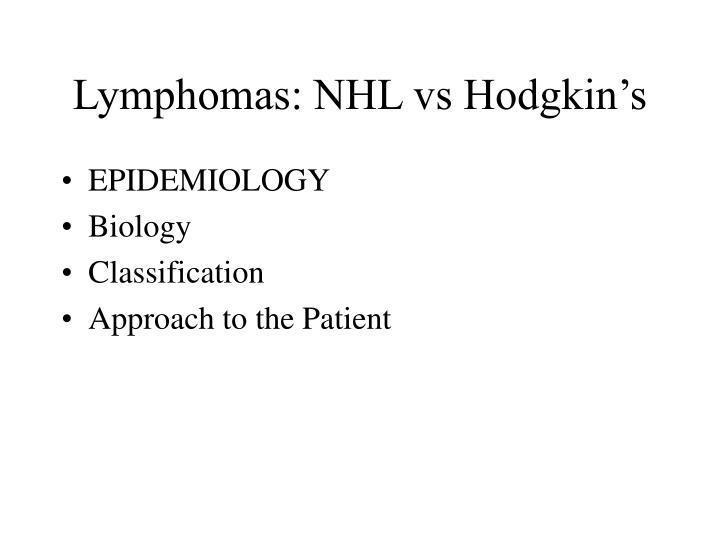 Lymphomas: NHL vs Hodgkin's