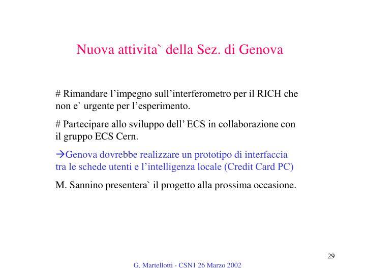 Nuova attivita` della Sez. di Genova