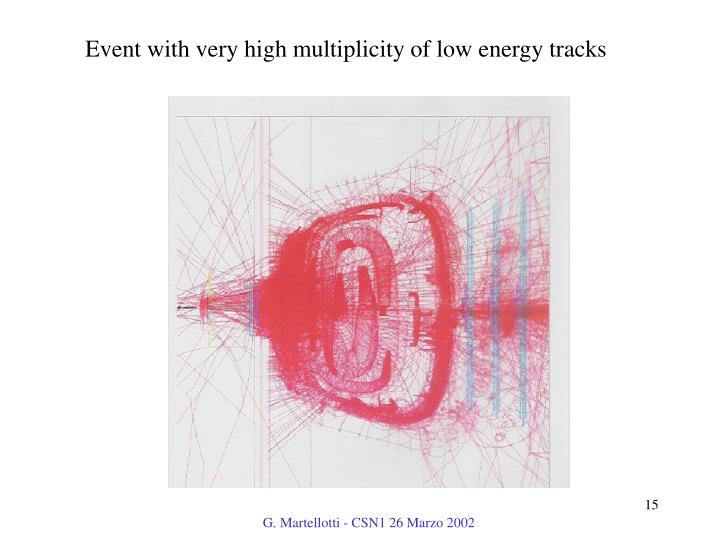 Event with very high multiplicity of low energy tracks