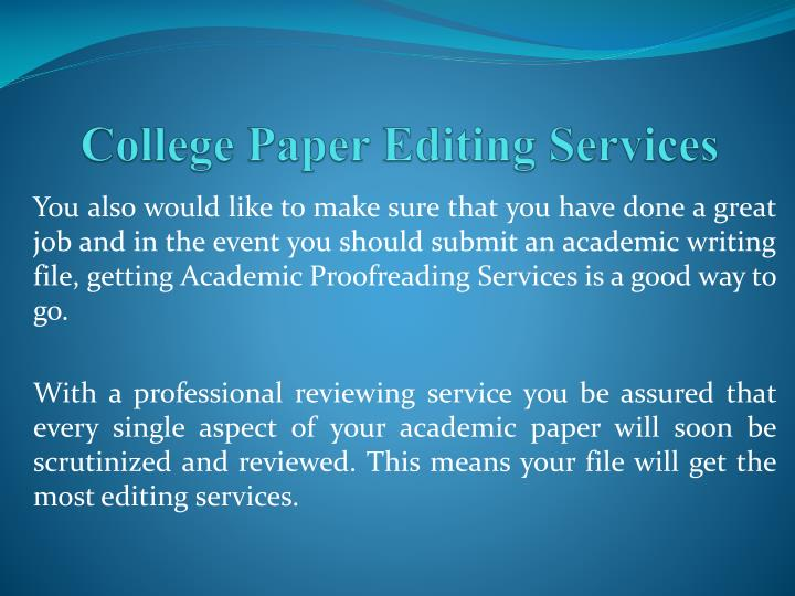 College Paper Editing Services