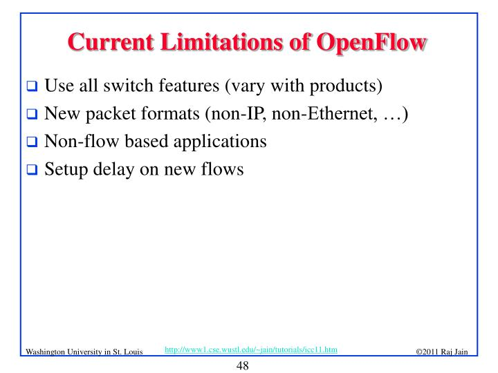 Current Limitations of OpenFlow