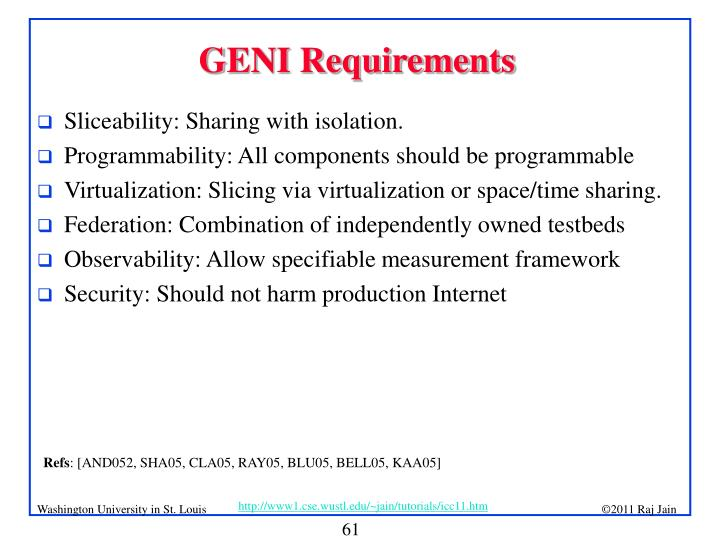 GENI Requirements