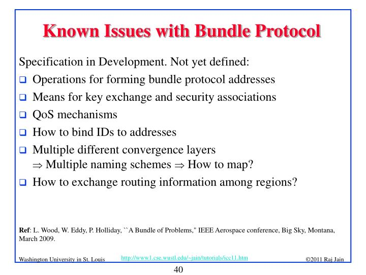 Known Issues with Bundle Protocol