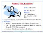 names ids locators