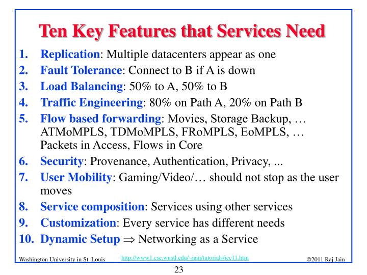 Ten Key Features that Services Need