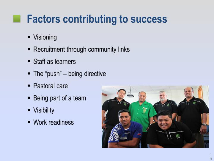 Factors contributing to success