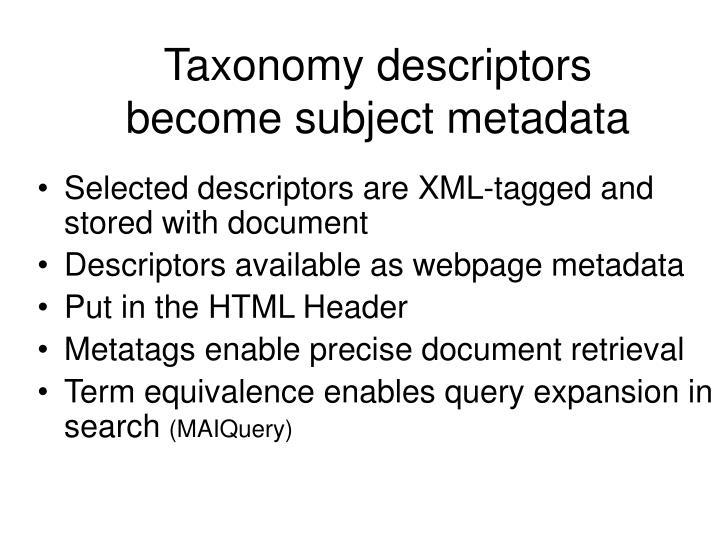 Taxonomy descriptors