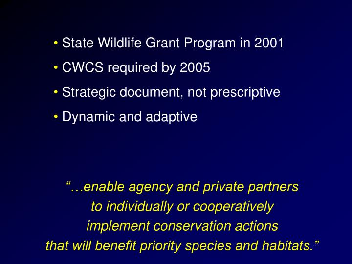 State Wildlife Grant Program in 2001