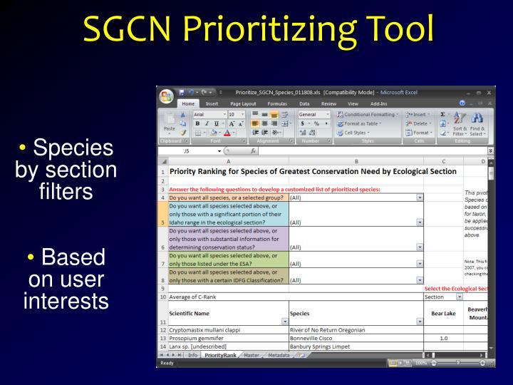 SGCN Prioritizing Tool