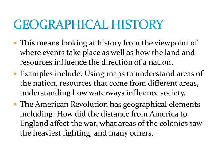 GEOGRAPHICAL HISTORY