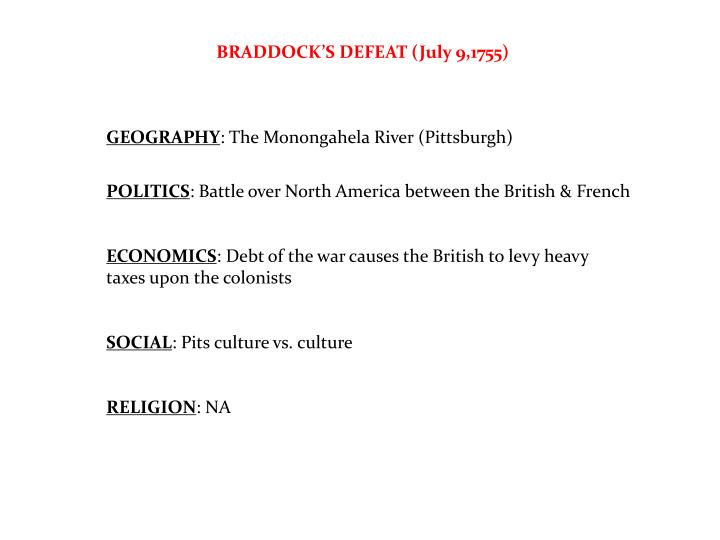 BRADDOCK'S DEFEAT (July 9,1755)