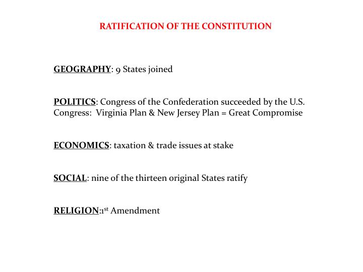 RATIFICATION OF THE CONSTITUTION