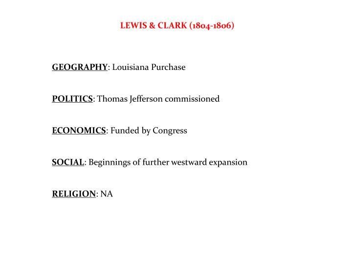 LEWIS & CLARK (1804-1806)
