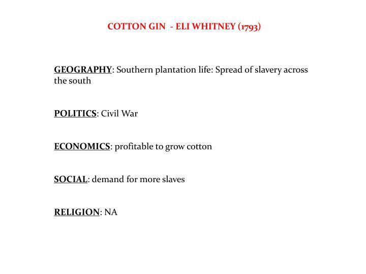 COTTON GIN  - ELI WHITNEY (1793)