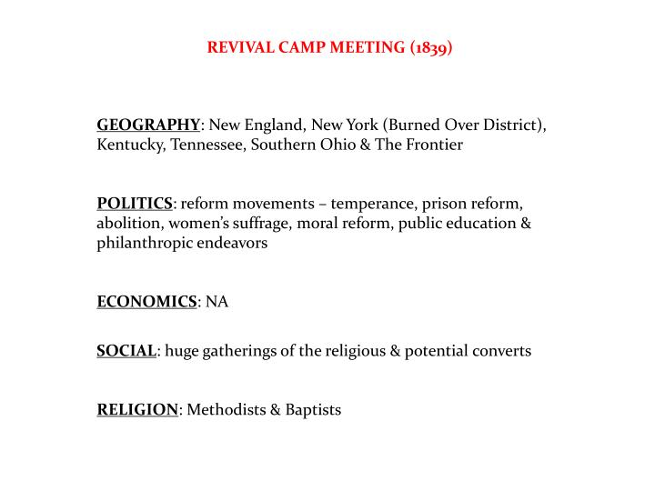 REVIVAL CAMP MEETING (1839)