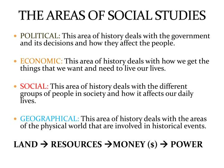 THE AREAS OF SOCIAL STUDIES