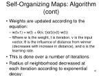 self organizing maps algorithm cont