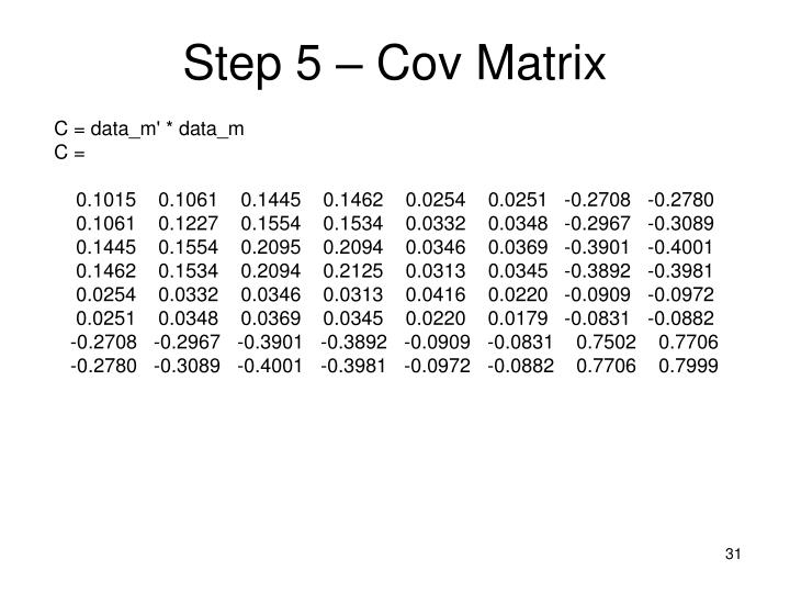 Step 5 – Cov Matrix