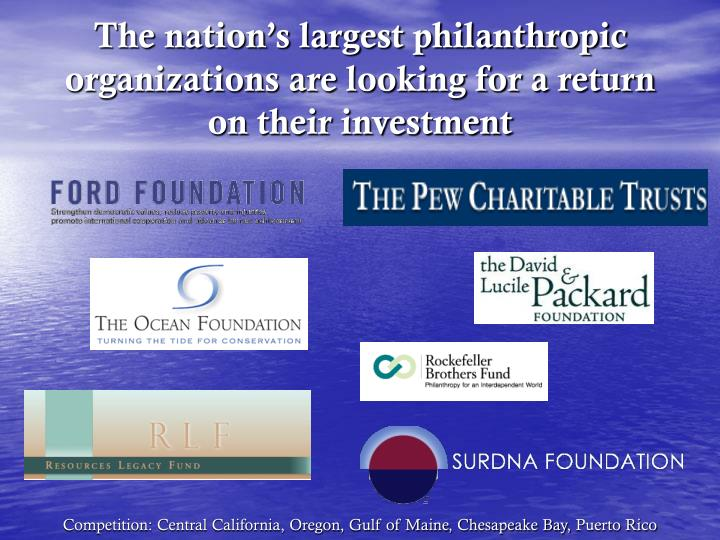 The nation's largest philanthropic organizations are looking for a return on their investment