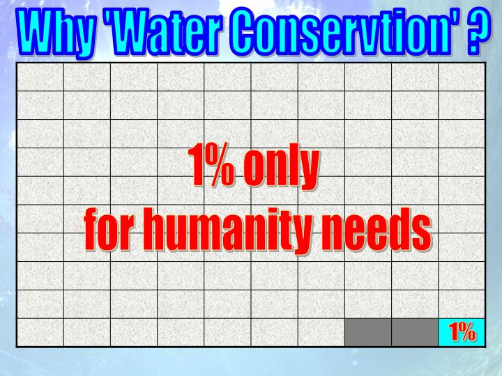 Why 'Water Conservtion' ?
