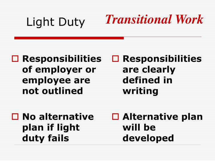 Responsibilities of employer or employee are not outlined