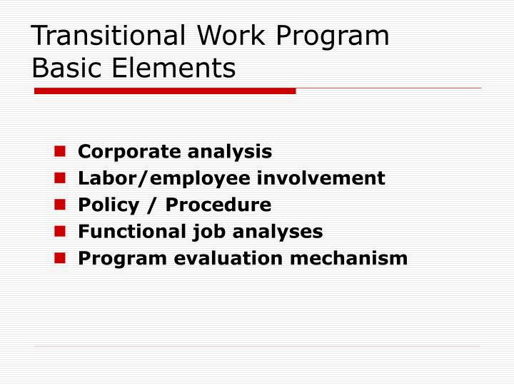 Transitional Work Program