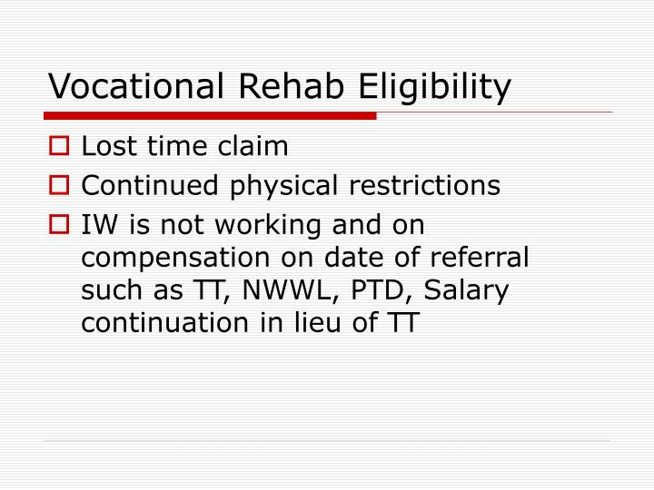 Vocational Rehab Eligibility