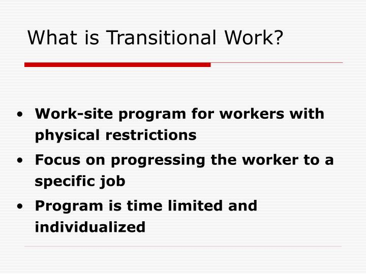 What is Transitional Work?