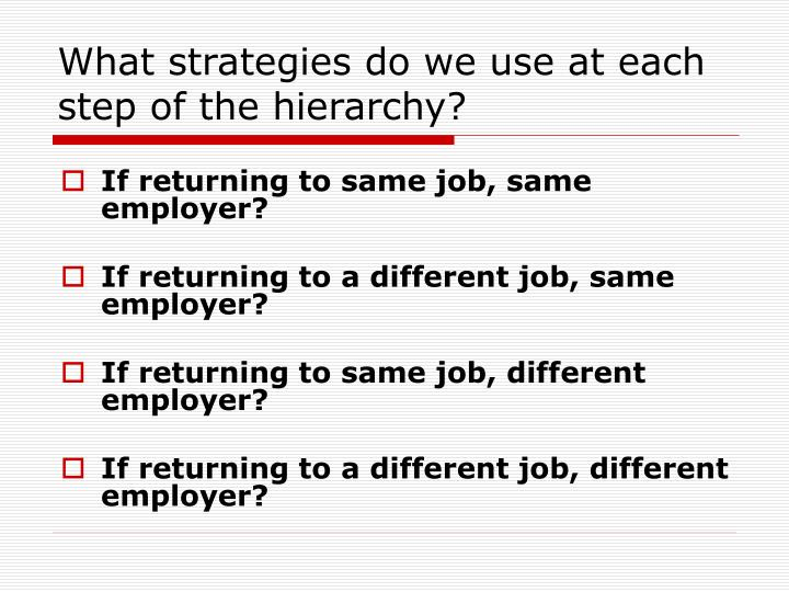 What strategies do we use at each step of the hierarchy?