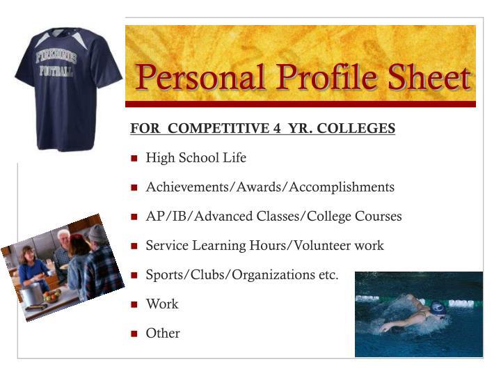 Personal Profile Sheet
