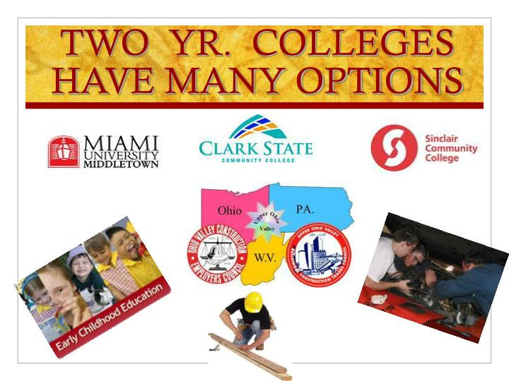 TWO  YR.  COLLEGES HAVE MANY OPTIONS