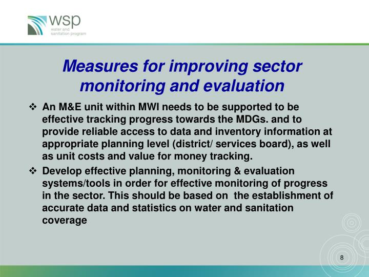 Measures for improving sector monitoring and evaluation