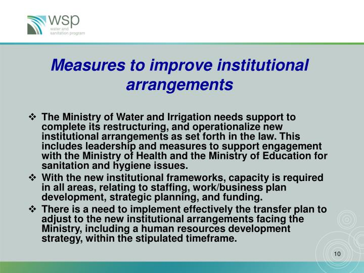 Measures to improve institutional