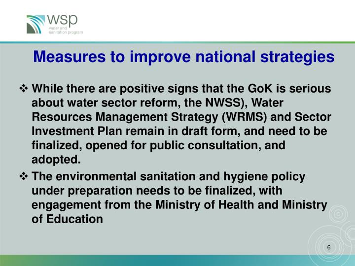 Measures to improve national strategies