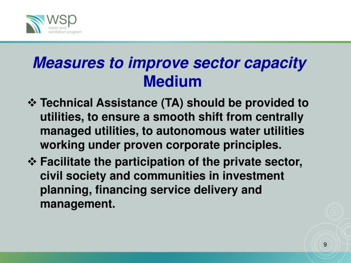 Measures to improve sector capacity