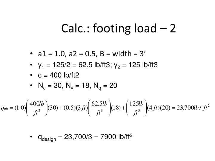 Calc.: footing load – 2