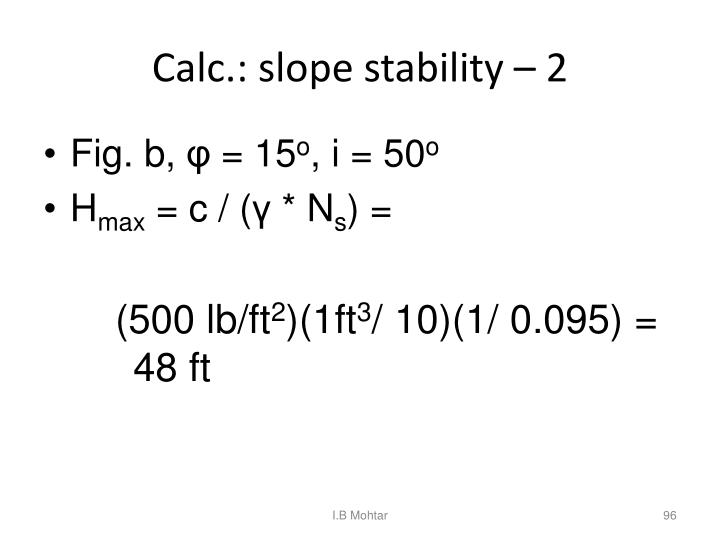 Calc.: slope stability – 2