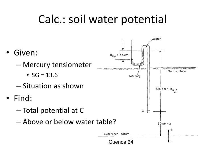 Calc.: soil water potential