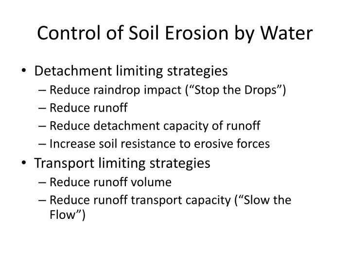 Control of Soil Erosion by Water