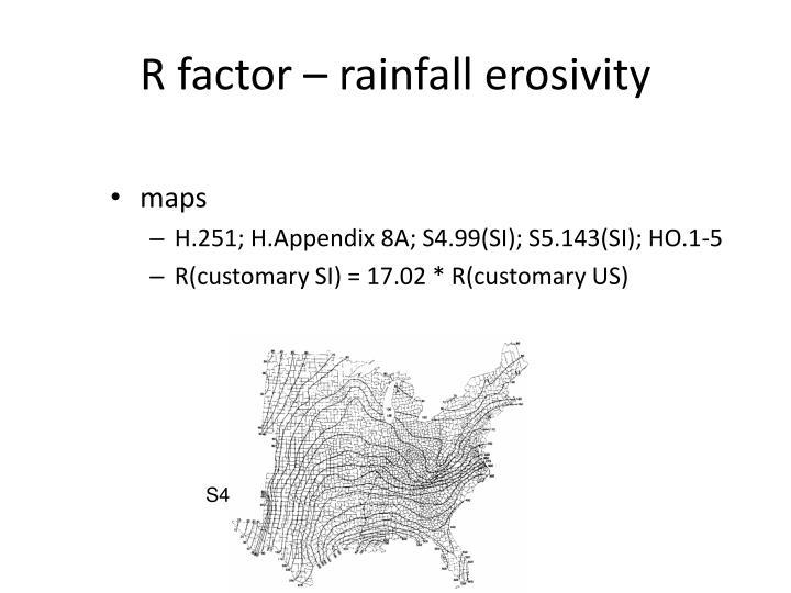 R factor – rainfall erosivity