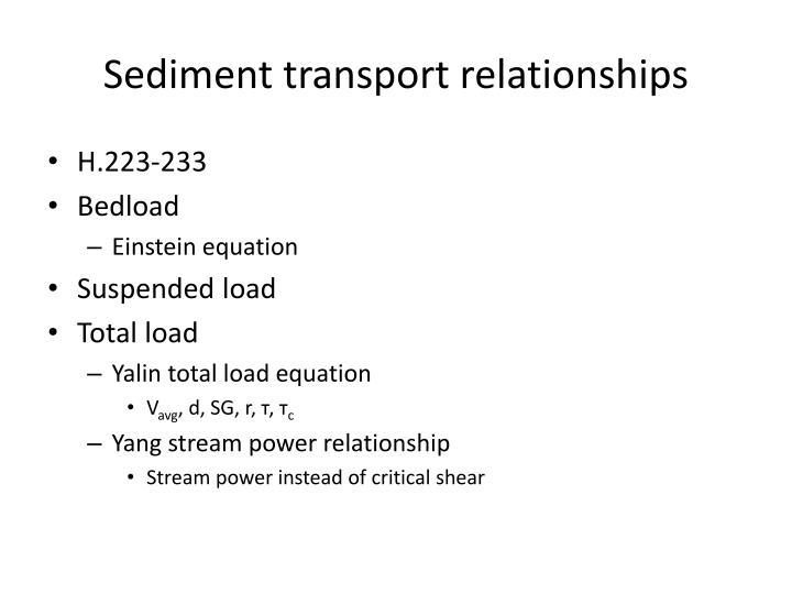 Sediment transport relationships
